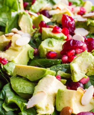 holiday-pomegranate-cranberry-spinach-salad